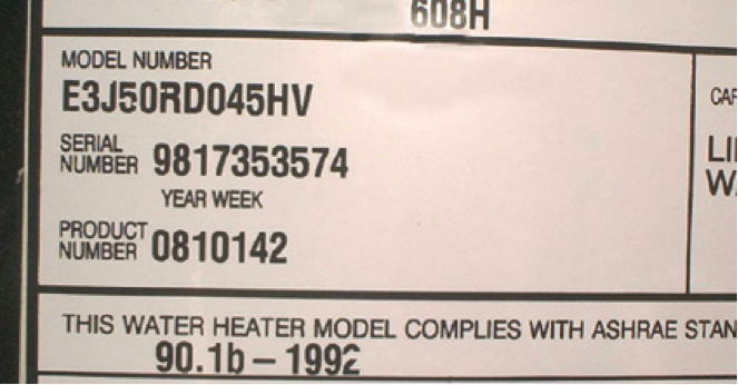 Find The Age And Model Of Your Water Heater Hefner